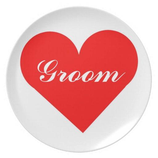 Red Heart Groom Plate