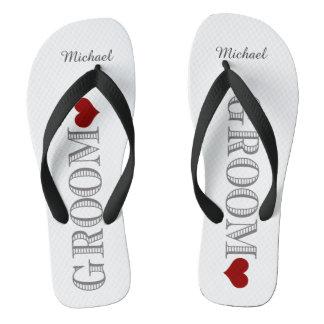 Red Heart Groom's Flip Flops