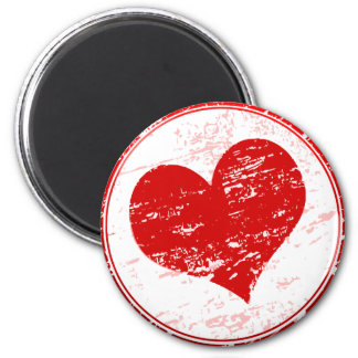 Red Heart Grunge  Love Illustration  Fridge Magnet