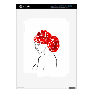 Red heart hair woman decal for iPad 3