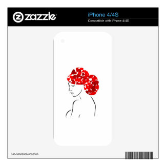 Red heart hair woman iPhone 4S decals