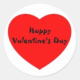 """Red Heart """"Happy Valentine's Day"""" sticker/label Classic Round Sticker"""