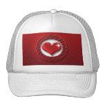 Red heart hats & peak caps