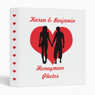 Red heart honeymoon personalised name photo album 3 ring binder