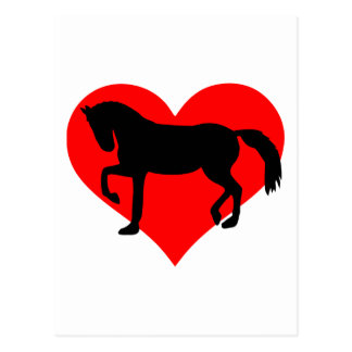 Red heart horse postcard