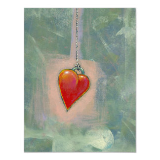 Red heart human condition expressive modern art card