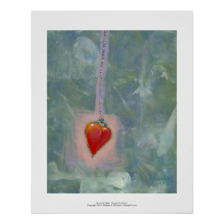 Red heart human condition expressive modern art poster