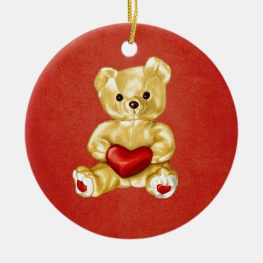 Red Heart Hypnotizing Cute Teddy Bear Ornaments