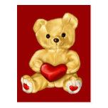 Red Heart Hypnotizing Cute Teddy Bear Post Card