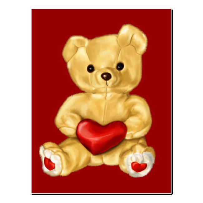 Red Heart Hypnotizing Cute Teddy Bear Postcard