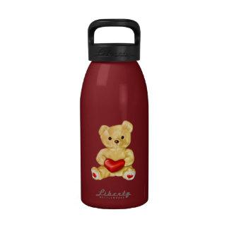 Red Heart Hypnotizing Cute Teddy Bear Reusable Water Bottles