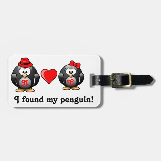 Red Heart I Found My Penguin Mate for Life Pair Luggage Tag