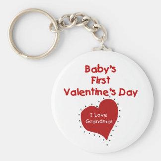 Red Heart I Love Grandma First Valentines Day Basic Round Button Keychain