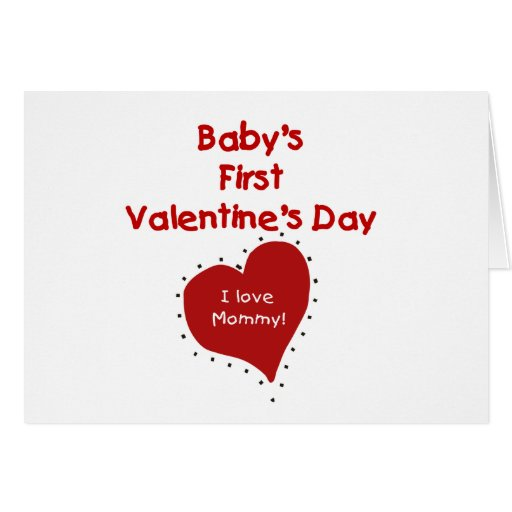 Red  Heart I Love Mommy First Valentines Day Greeting Card
