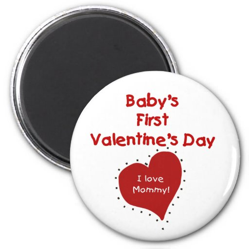 Red  Heart I Love Mommy First Valentines Day 2 Inch Round Magnet