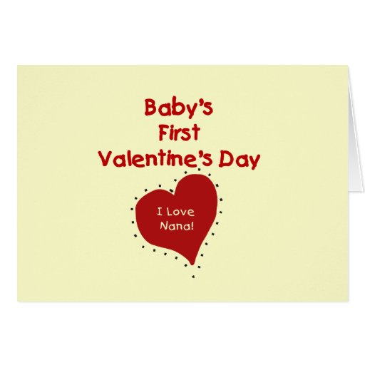 Red Heart I Love Nana First Valentines Day Greeting Card