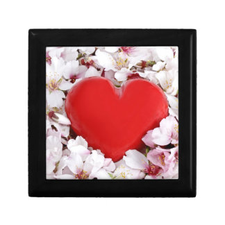 Red heart in a bed of flowers keepsake box