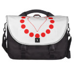 Red Heart In A Circle Laptop Messenger Bag