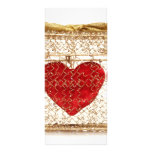 Red heart in a golden gift box rack card template