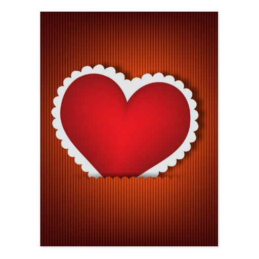Red heart in pocket postcard