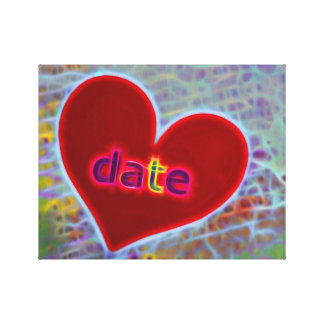 red heart inscription DATE Canvas Print