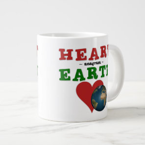 Red Heart is anagram for Green Earth Giant Coffee Mug