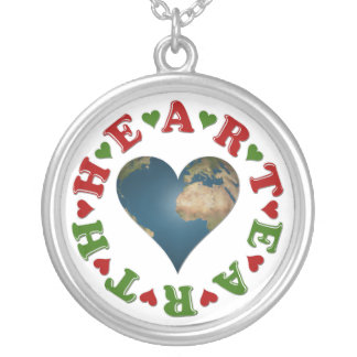 Red Heart is anagram for Green Earth Round Pendant Necklace