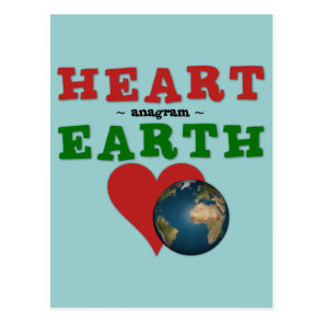 Red Heart is anagram for Green Earth Postcard