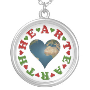 Red Heart is anagram for Green Earth Silver Plated Necklace