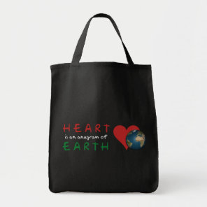 Red Heart is anagram for Green Earth Tote Bag