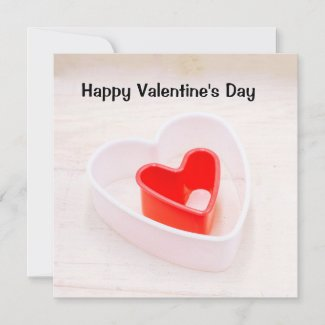 Red heart is on wooden background Valentine's Day