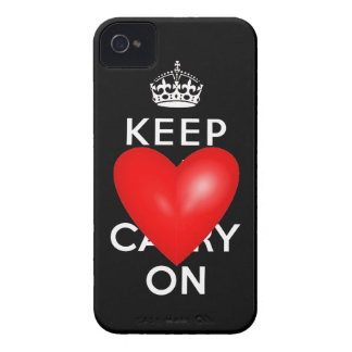 Red Heart Keep Calm and Carry On iPhone 4 Case