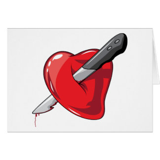 Red Heart Knife In Hearts Love Card