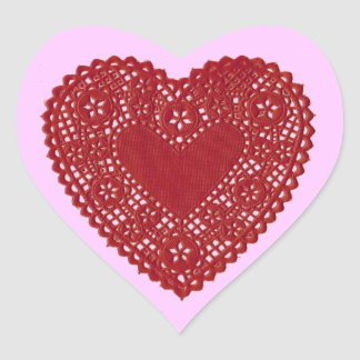 Red Heart Lace Doily on Pink Background Valentine  Stickers