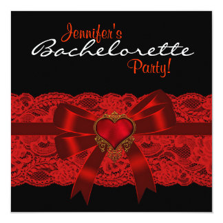 Red Heart Lace Red Black Bachelorette Party 5.25x5.25 Square Paper Invitation Card