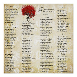 Red Heart Leaf Damask Wedding Seating Chart