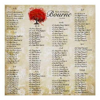 Red Heart Leaf Damask Wedding Seating Chart Poster