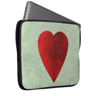 Red Heart Leaf Laptop Sleeve