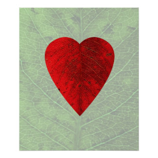 Red Heart Leaf Poster Print