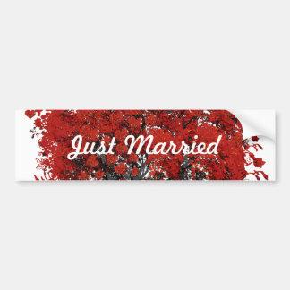 Red Heart Leaf Tree Bumper Sticker