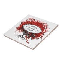 Red Heart Leaf Tree Ceramic Tile