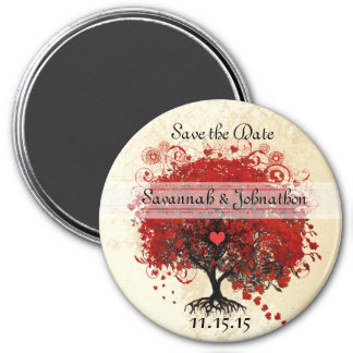 Red Heart Leaf Tree Damask Save the Date Magnets