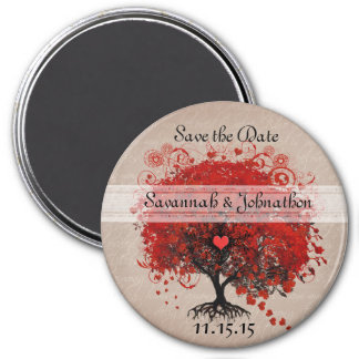 Red Heart Leaf Tree Save the Date Magnets