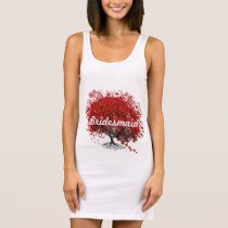 Red Heart Leaf Tree Sleeveless Dress