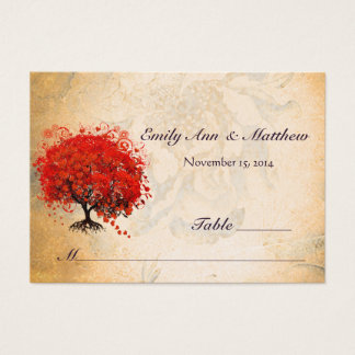 Red Heart Leaf Tree Table Place Cards