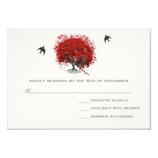 Red Heart Leaf Tree Wedding Card