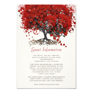 Red Heart Leaf Tree Wedding Card