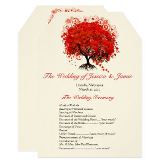Red Heart Leaf Tree Wedding Program