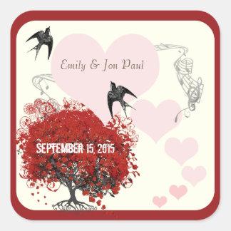 Red Heart Leaf Tree Wedding Square Sticker
