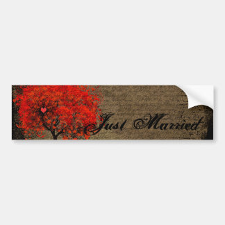 Red Heart Leafed Tree Just Married Bumper Sticker